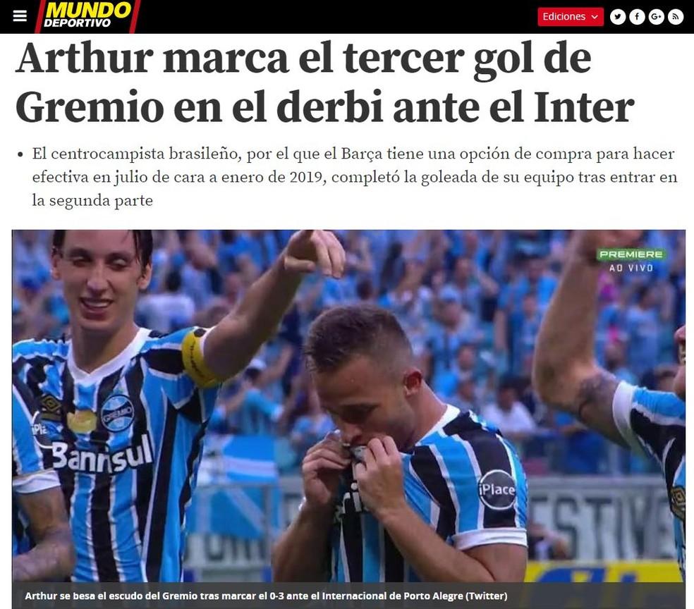 Mundo Deportivo destacou gol de Arthur (Foto: reprodução/Mundo Deportivo)