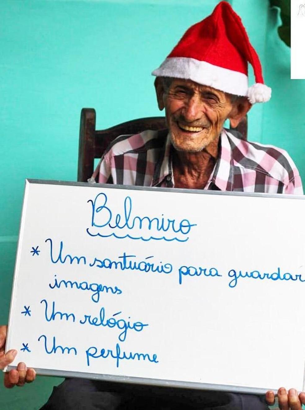 O senhor Belmiro quer um santuário para as imagens religiosas — Foto: Divulgação/Thaína Pires