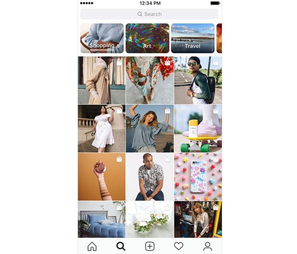 """Aba """"Explorar"""" agora tem canal dedicado a venda de produtos  â?? Foto: Divulgação/Instagram"""