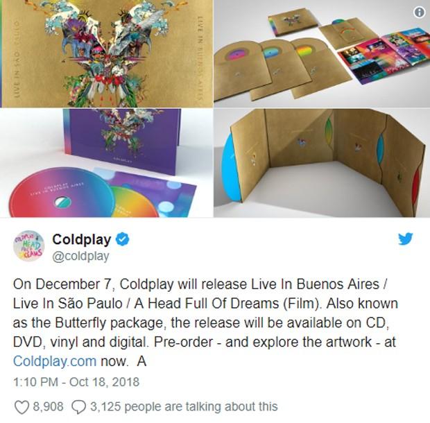Coldplay anuncia lançamento de DVD e CD ao vivo de shows gravados em SP e Buenos Aires (Foto: Reprodução/Twitter)