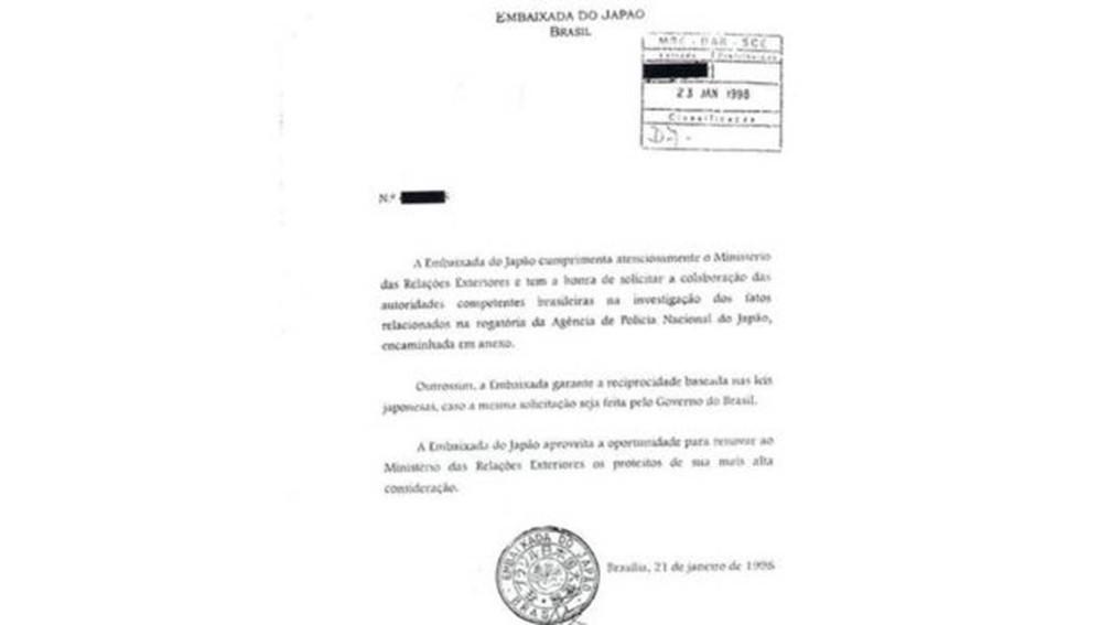 A Embaixada do Japão no Brasil formalizou o pedido junto ao Ministério das Relações Exteriores solicitando a colaboração em 1998 (Foto: BBC)