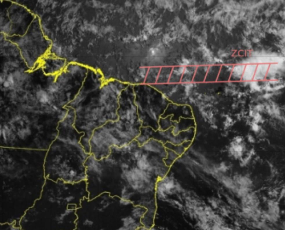 A ZCIT tem seu posicionamento próximo ao norte do Nordeste — Foto: CPTEC/INPE