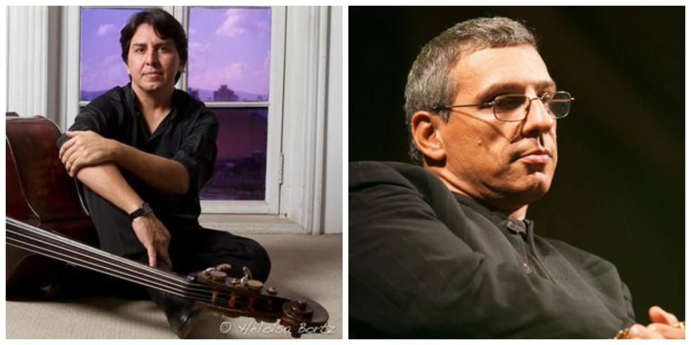 O contrabaixista brasileiro Pedro Gadelha (esq) e o clarinetista italiano Gabriele Mirabassi estão entre os renomados artistas do Ilumina Festival e vão tocar chorinho em concerto em Mococa, SP (Foto: Heloísa Bortz e arquivo pessoal/Divulgação)