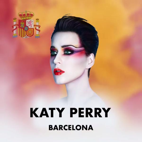 O anúncio do show de Katy Perry em Barcelona com as cores da bandeira espanhola (Foto: Instagram)