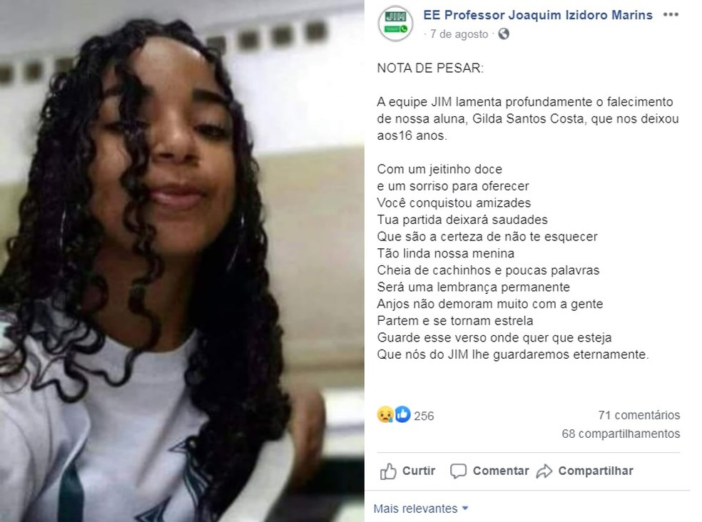 Estudante de 16 anos não resistiu ao coronavírus em Sorocaba — Foto: Reprodução/Facebook