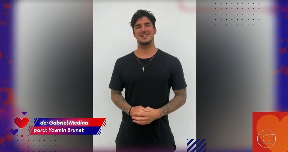 Gabriel Medina mandou recado para Yasmin Brunet — Foto: Globo
