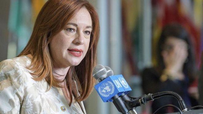 María Fernanda Espinosa foi chanceler do Equador e, por isso, tem experiência em lidar com a Venezuela (Foto: UN PHOTO/MANUEL ELIAS via BBC)