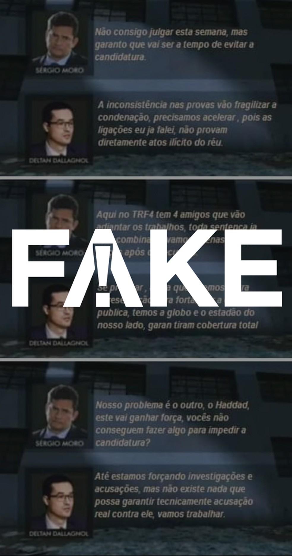 Print falso que tem circulado na internet — Foto: Reprodução