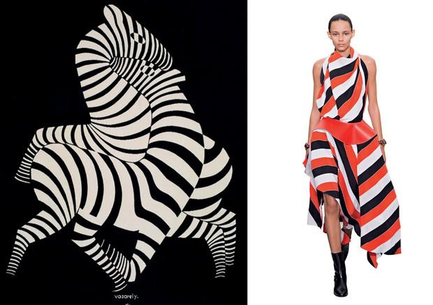 Tapeçaria Zebra (1938), de Victor Vasarely. Look Céline (Foto: Christie's Images/Bridgeman Images/Glow Images e Imaxtree)