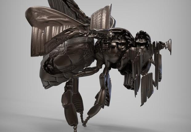 Escultura abstrata de abelha criada a partir dos desenhos feitos pela Ai-da (Foto: Victor Frankowski )