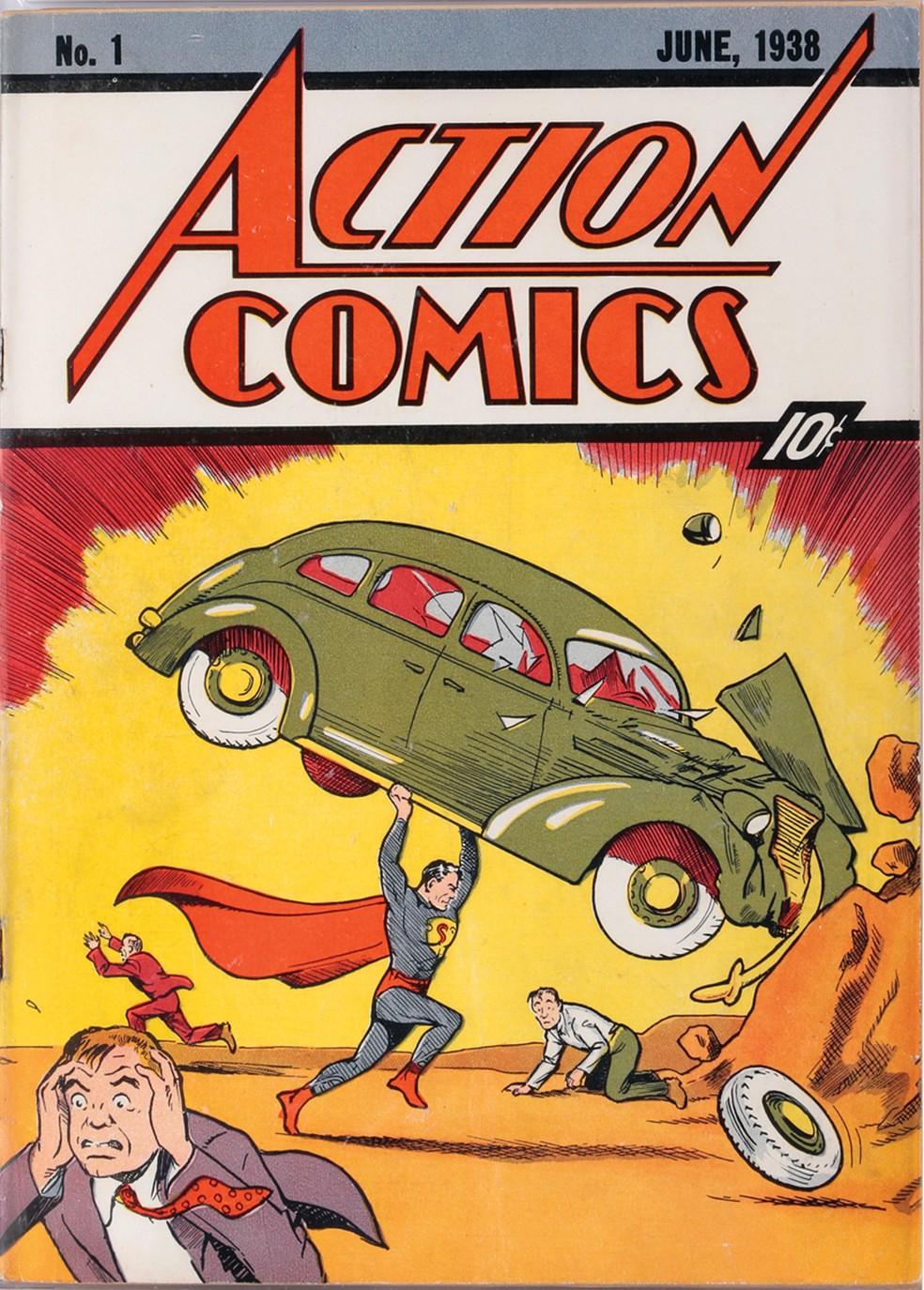 'Action Comics 1', de 1938, primeira aparição do Superman. — Foto: Profiles in History via AP
