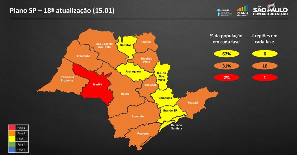 DRS de Presidente Prudente estava na fase laranja do Plano São Paulo, enquanto o DRS de Marília estava na fase vermelha — Foto: Reprodução