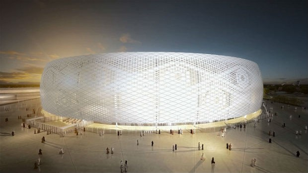 Al Thumama Stadium, um dos estádios da Copa no Catar, tem formato de um chapéu árabe (Foto: Divulgação)