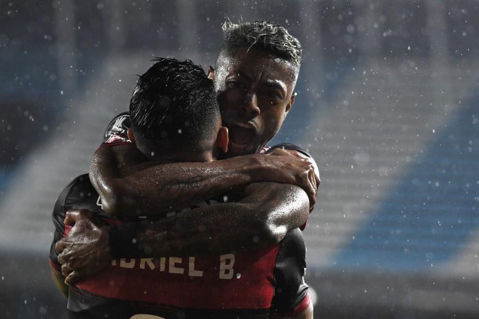 Dupla de ataque foi o que o Flamengo apresentou de melhor em Buenos Aires — Foto: Staff images /CONMEBOL