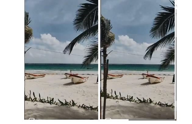 Praia próxima ao hotel onde Sasha e João estão hospedados, em Tulum (Foto: Reprodução)