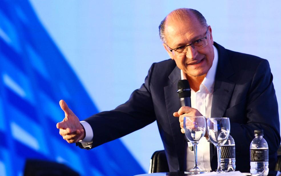 O candidato à presidência da República pelo PSDB, Geraldo Alckmin, participa nesta terça-feira (7), do GovTech Brasil (Foto: Aloísio Mauricio/Foto Arena/Estadão Conteúdo)