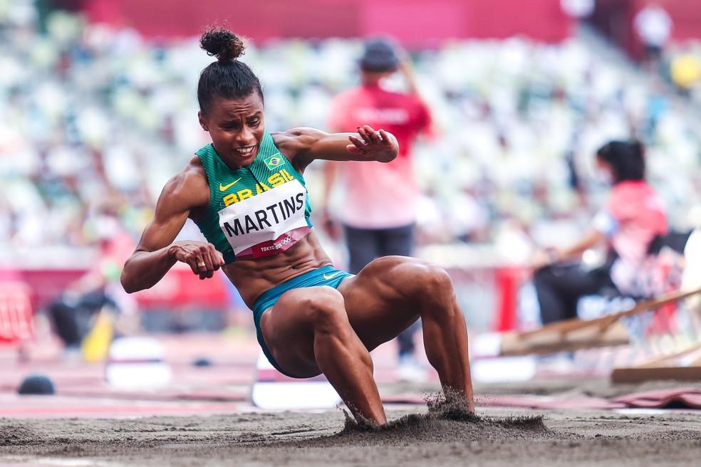 Eliane Martins durante a eliminatória do salto em distância — Foto: Wander Roberto/COB