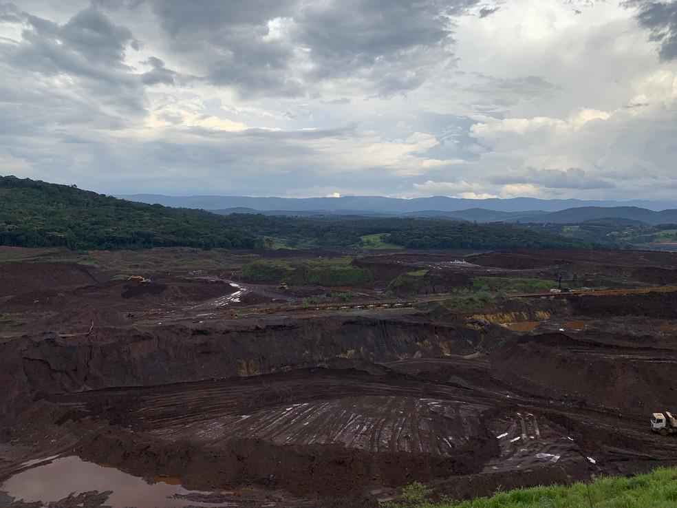 Área atingida pelo rompimento da barragem um ano após a tragédia da Vale, em Brumadinho — Foto: Raquel Freitas/G1