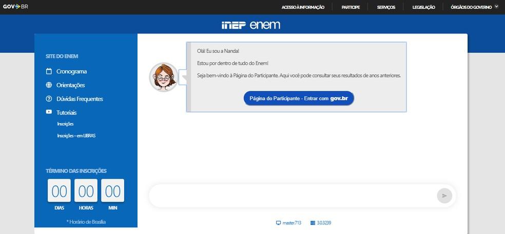 Ao entrar no site https://enem.inep.gov.br/participante/, você verá a tela acima. — Foto: Reprodução/Inep