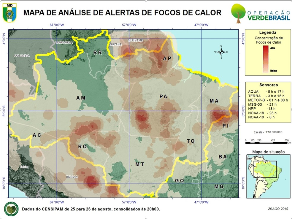 Mapa divulgado pelo Ministério da Defesa mostra alertas de focos de calor na Amazônia entre 25 e 26 de agosto — Foto: Ministério da Defesa/Divulgação