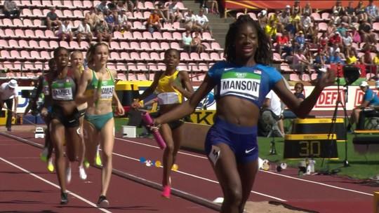 EUA vencem revezamento 4x400m feminino, e Brasil, mesmo em último, bate recorde novamente