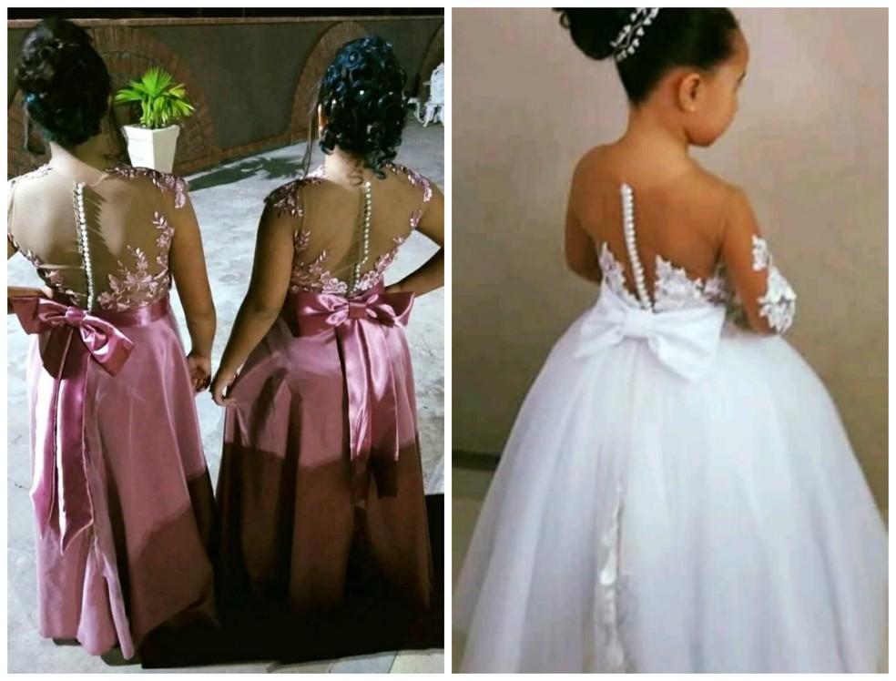 Vestido das damas e daminha de honra também foram feitos pela costureira — Foto: Arquivo pessoal