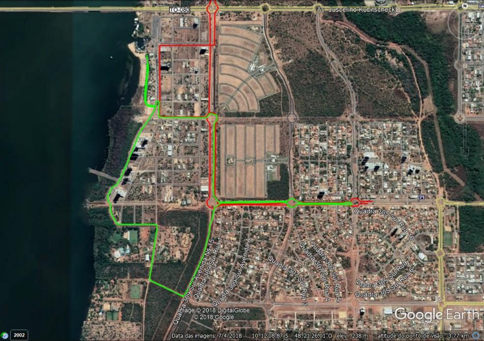 Mapa mostra trechos que serão interditados (Foto: Arte/Prefeitura de Palmas)