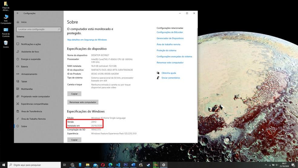 """Você pode confirmar se seu computador está rodando o 20H2 no menu """"Sobre"""" dentro de """"Sistema"""" no app """"Configurações"""" — Foto: Reprodução/Filipe Garrett"""