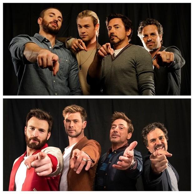 Chris Evans, Chris Hemsworth, Robert Downey Jr. e Mark Ruffalo (Foto: Reprodução Instagram)