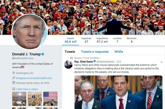 Twitter do presidente americano Donald Trump (Foto: Reprodução)