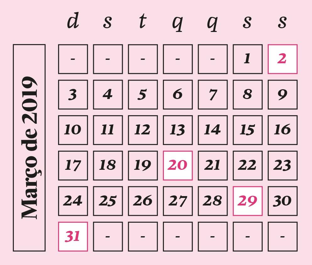 Calendário março de 2019 (Foto: Gustavo Rojas)