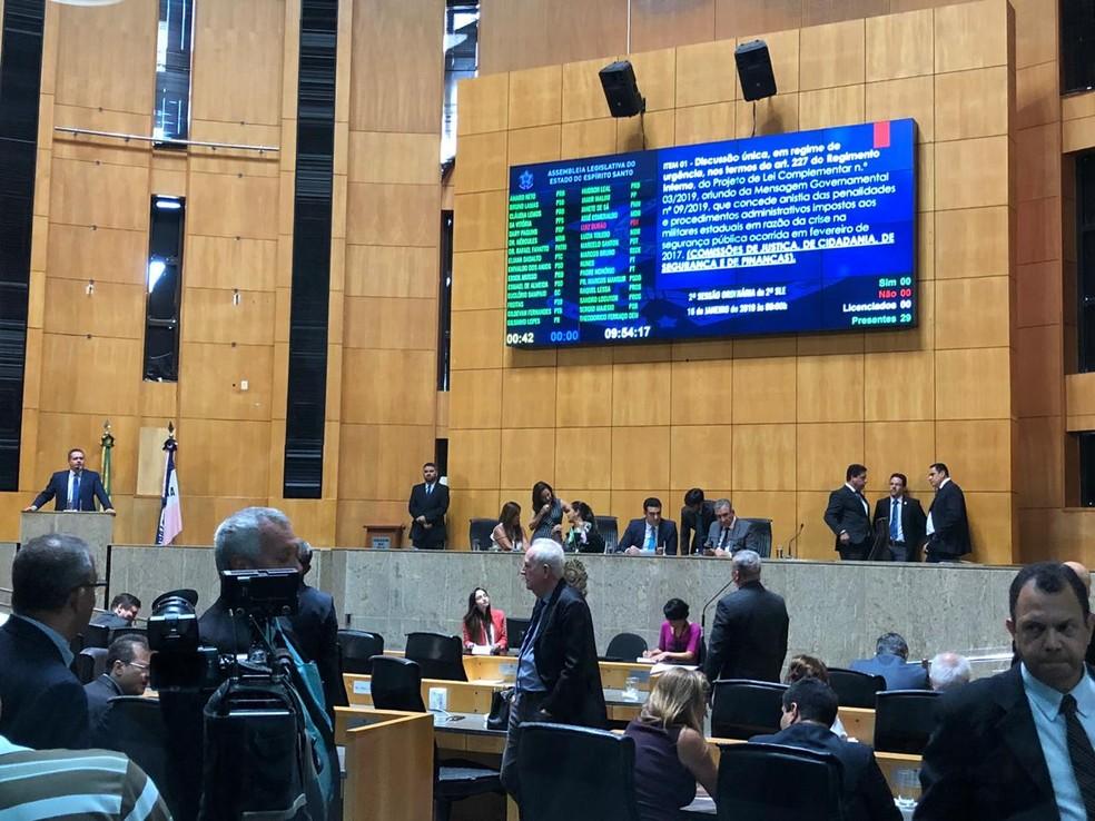 Projeto de Lei foi votado nesta quinta-feira (16) na Assembleia Legislativa do ES — Foto: Fábio Linhares/TV Gazeta