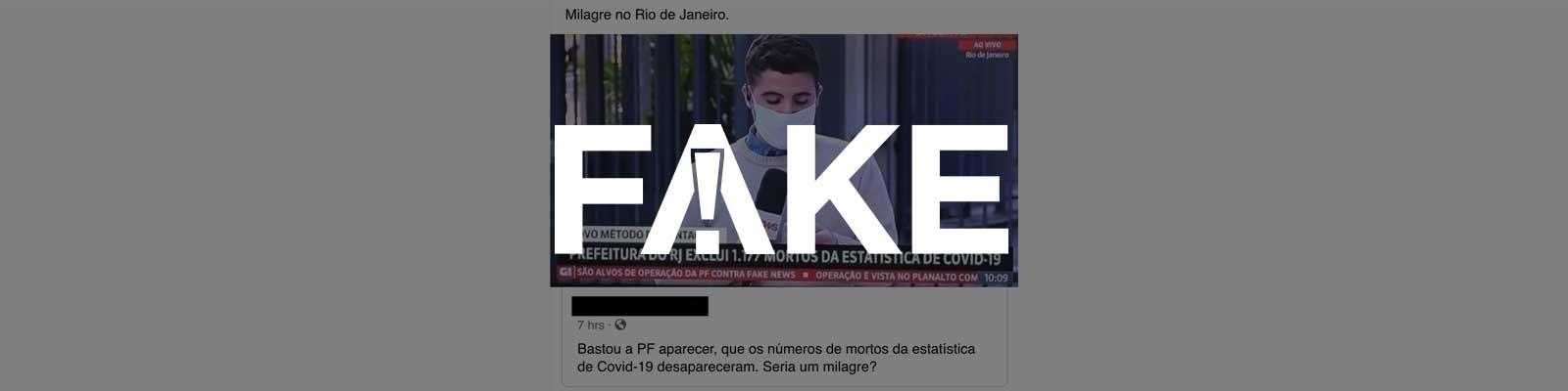 É #FAKE que operação da PF fez cidade do Rio de Janeiro excluir 1,1 mil mortes por Covid-19 da estatística oficial