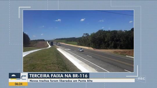 Novos trechos da terceira faixa da BR-116 são liberados em Santa Catarina