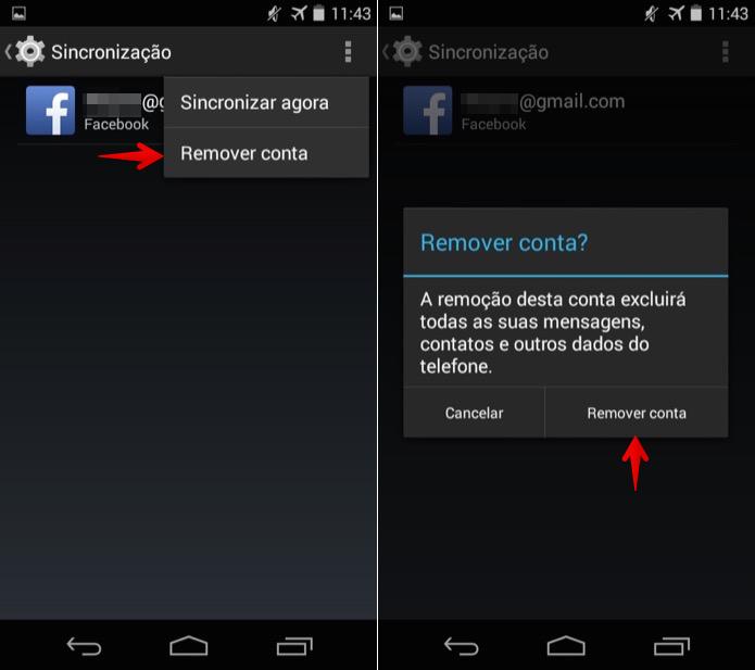 Removendo conta do Facebook vinculada ao sistema (Foto: Reprodução/Helito Bijora)