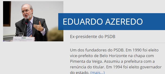 O nome de Eduardo Azeredo permanece no site do PSDB (Foto: Reprodução)