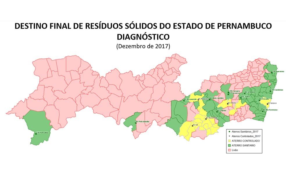 Destino final de resíduos sólidos em Pernambuco, em dezembro de 2017 (Foto: Reprodução/TCE-PE)