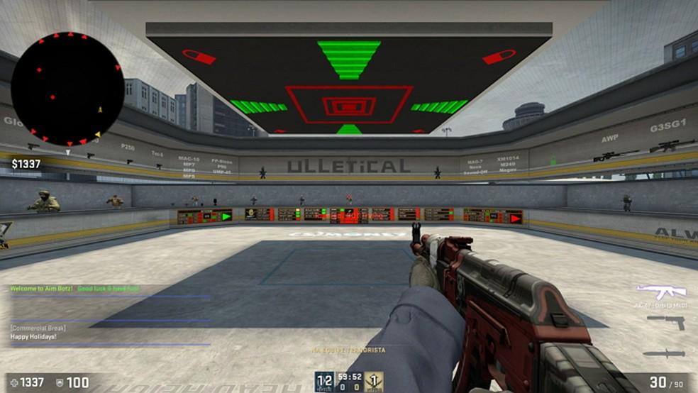 O mapa aim_botz é muito utilizado pela comunidade para praticar e aquecer no CS:GO — Foto: Reprodução/Gabriel Saguias