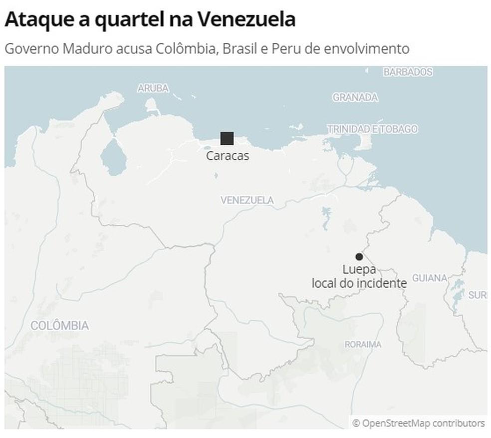 Quartel alvo de ataque fica em região próxima ao Brasil — Foto: G1