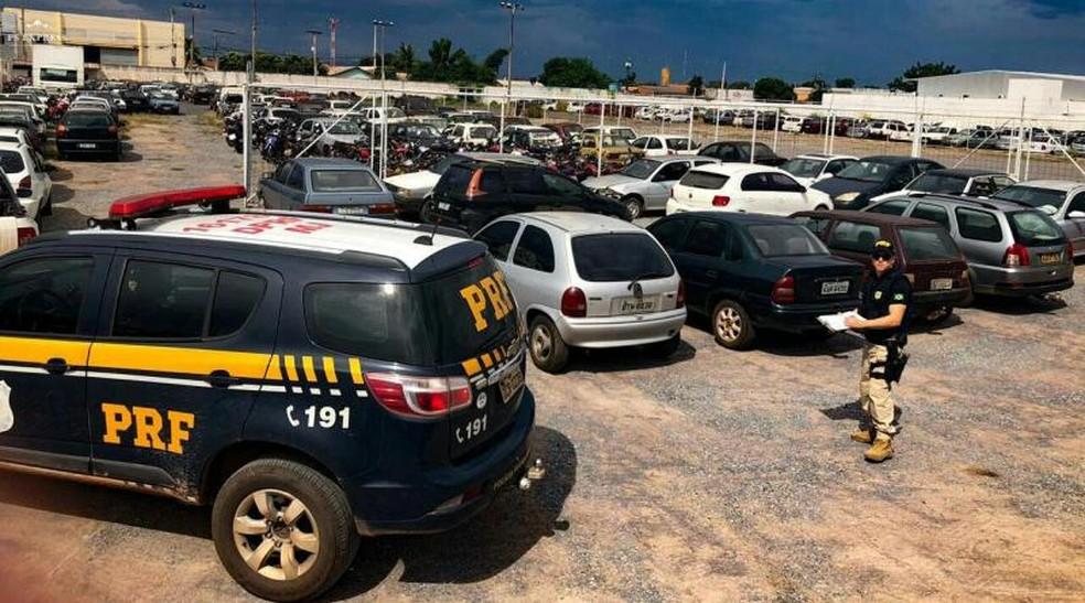 PRF leiloa veículos — Foto: PRF-MT/Assessoria