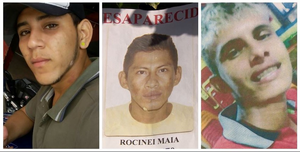 Fredson Batalha, de 18 anos; Rocinei Maia, de 28, e Sidney Castro Cidade, de 22, estão desaparecidos (Foto: Arquivo Pessoal)