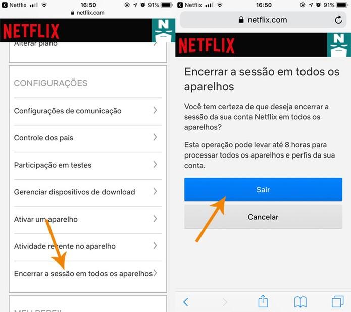Encerre a sessão no celular da mesma forma que no PC (Foto: Reprodução/Pedro Cardoso)