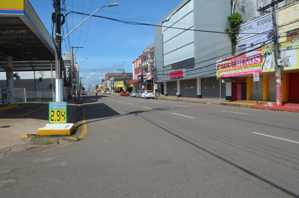 Em maio de 2020, Amapá também viveu um lockdown no Amapá; foto mostra centro comercial — Foto: Victor Vidigal/G1