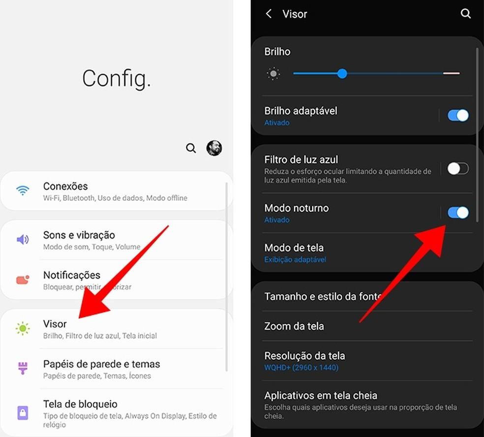 Ative o Modo Noturno nas configurações de tela do Android 9 ou 10 — Foto: Reprodução/Paulo Alves