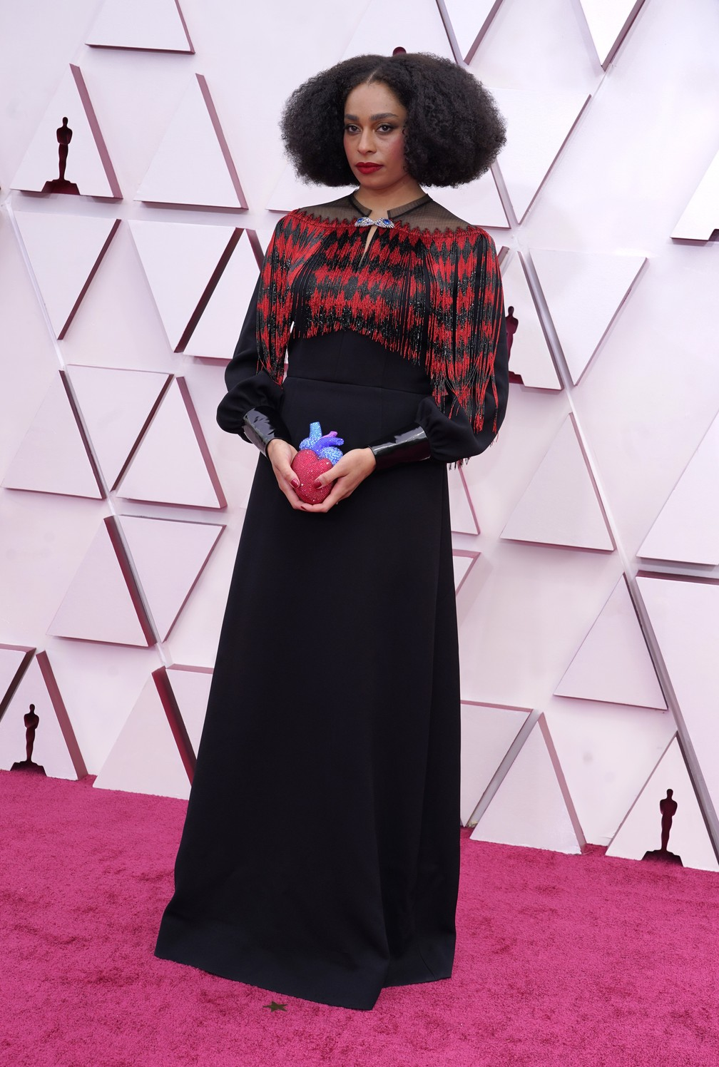 Celeste Waite no Oscar 2021 — Foto: AP Photo/Chris Pizzello