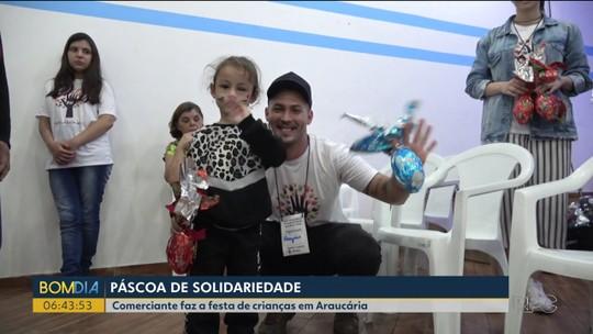 Na Páscoa, comerciante fez a festa de crianças em Araucária