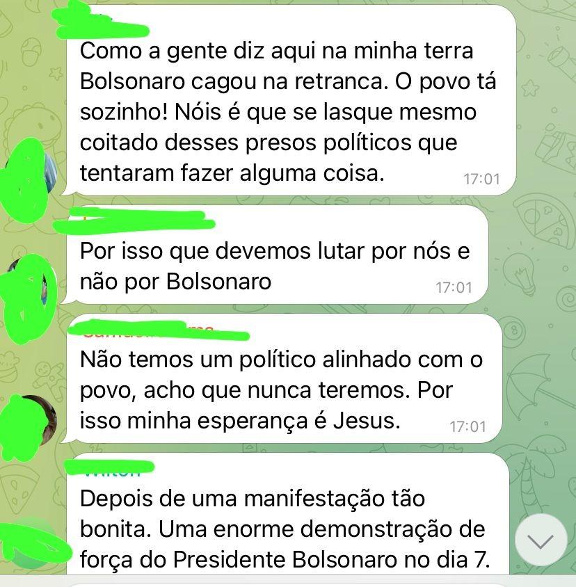 Reação de apoiadores em grupos bolsonaristas