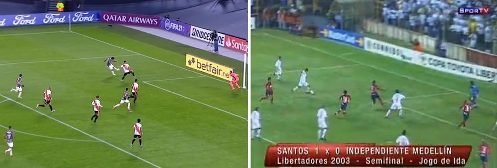 Quase do mesmo lugar: gols de Nenê pela Libertadores pelo Fluminense em 2021 e Santos em 2003 — Foto: Reprodução / Fox Sports e SporTV