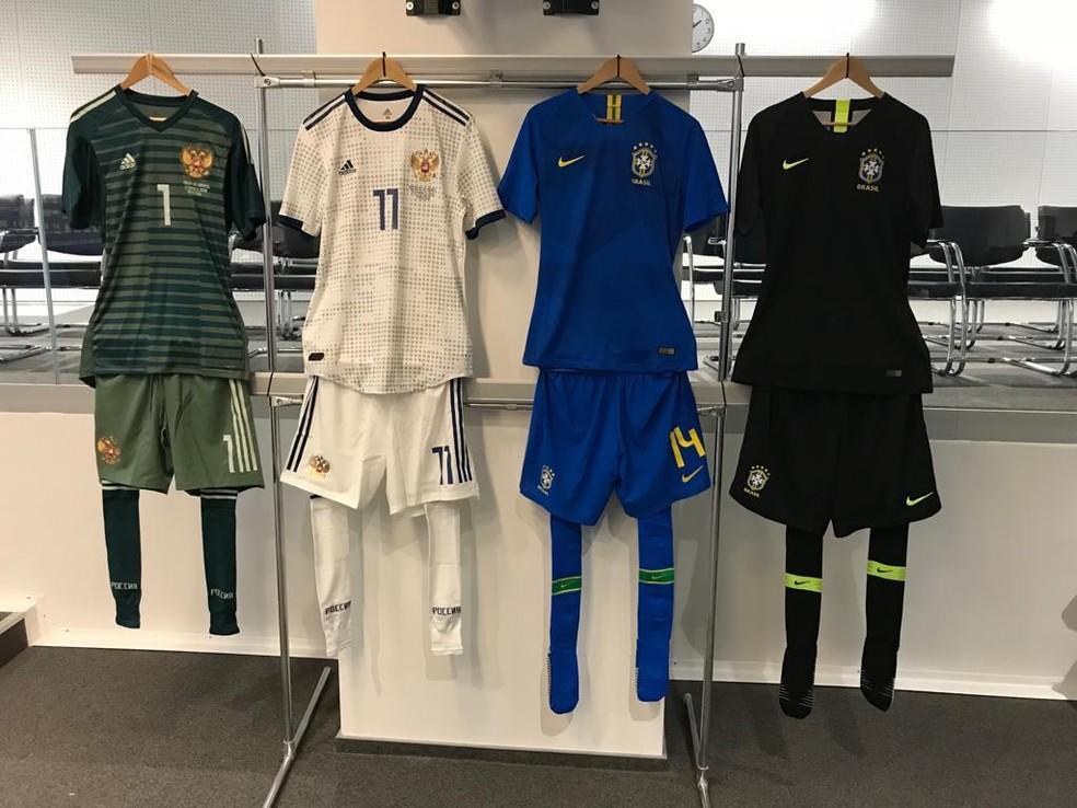 Uniformes do amistoso entre Brasil e Rússia (Foto: Divulgação)