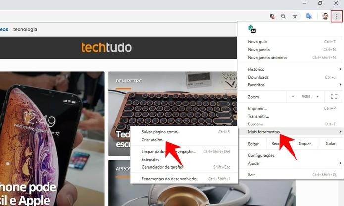 Acessando as configurações do Chrome para criar atalhos de sites (Foto: Reprodução/Rodrigo Fernandes)